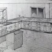 4 Bainbridge Residence Conceptual Kitchen Sketch